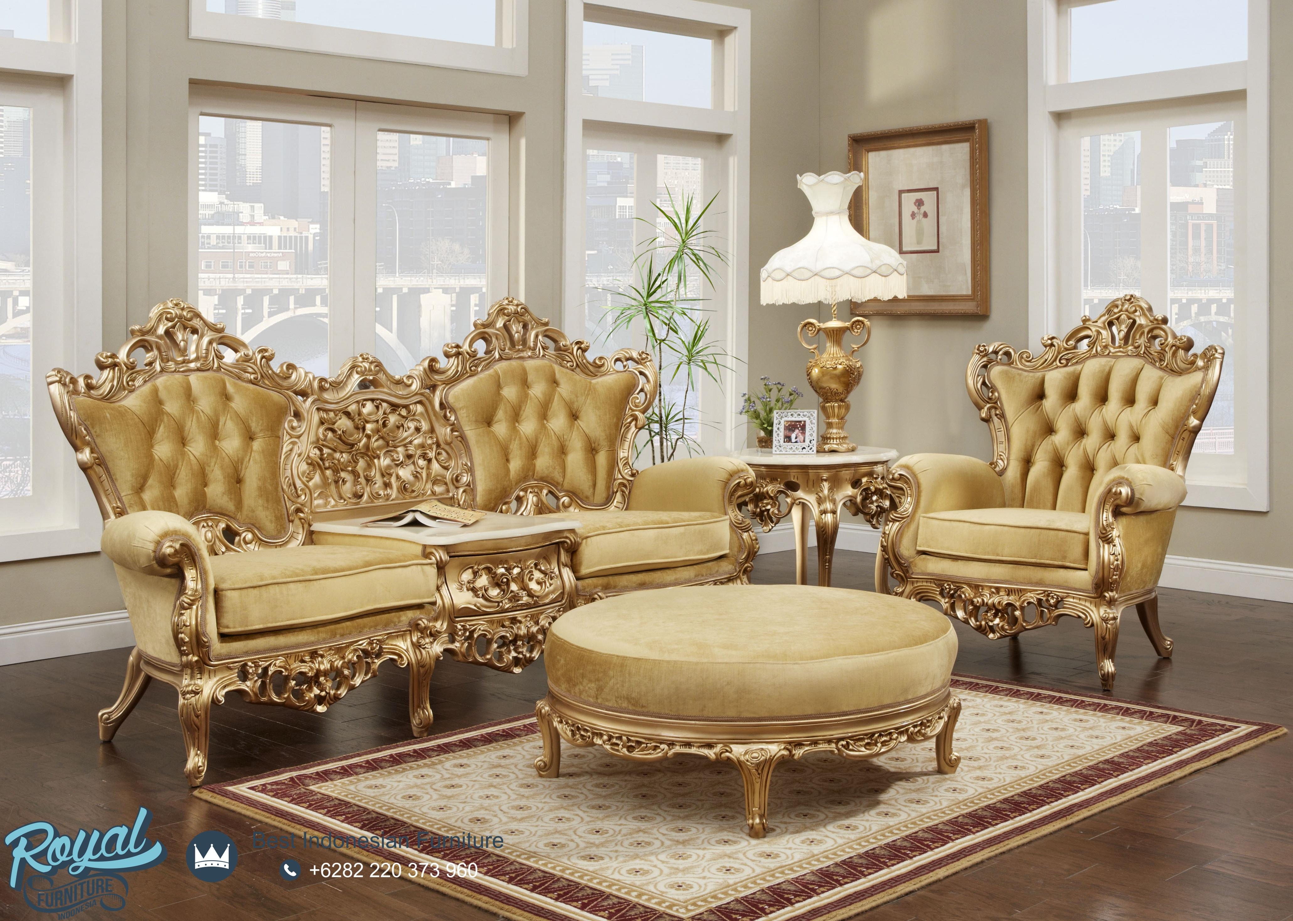 Sofa Tamu Ukir Jepara Warna Emas Mewah Terbaru Royal Furniture