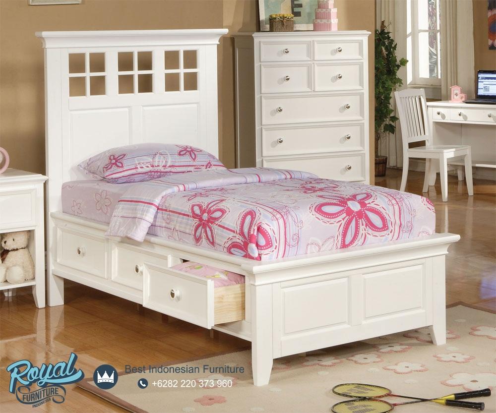 Tempat Tidur Anak Minimalis Modern Putih Terbaru Royal Furniture