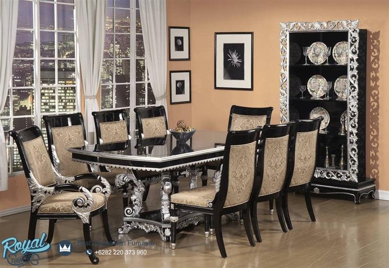 Set Meja Makan Hitam Silver Mewah Terbaru Royal Furniture