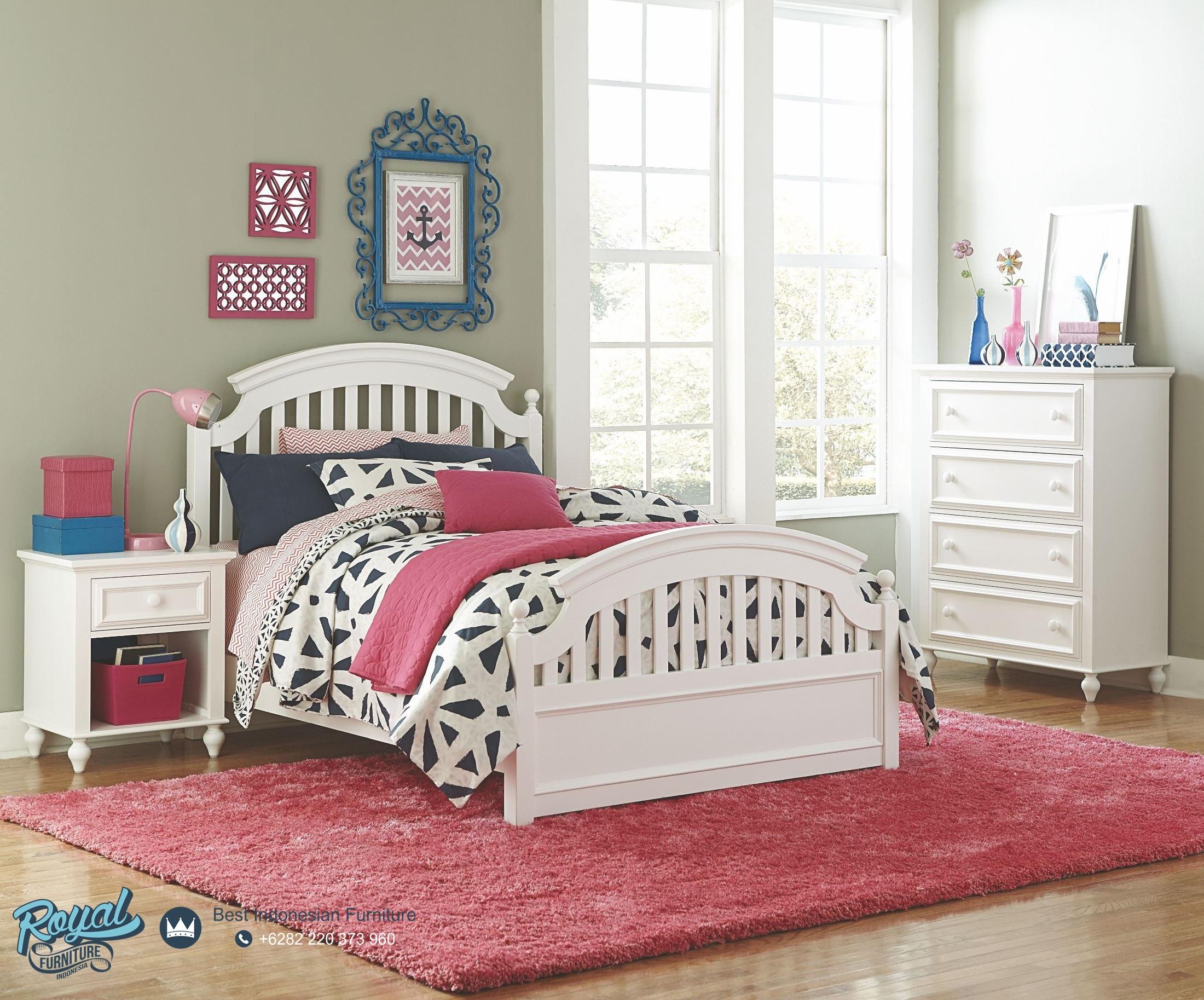 Set Kamar Tidur Anak Minimalis Modern Terbaru White Finish Royal
