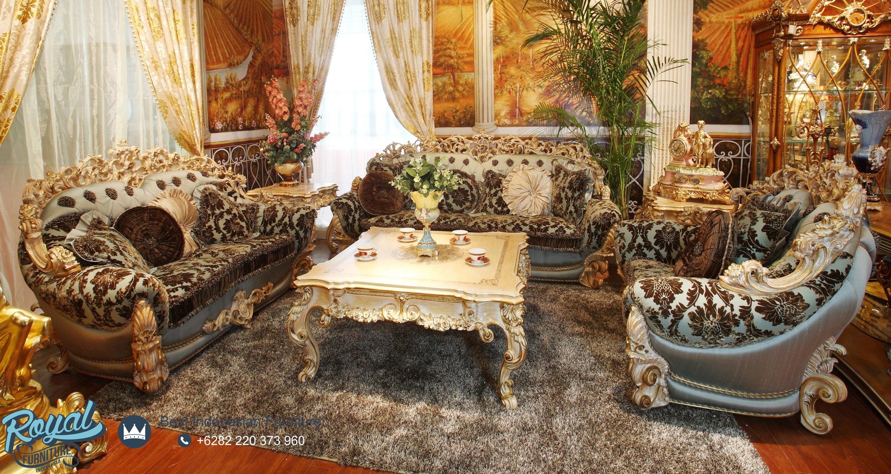 Set Kursi Tamu Sofa Klasik Ukiran Mewah Terbaru Brunello Royal 1 Teras