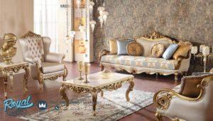 Set Kursi Sofa Tamu Klasik Ukiran Duco Emas Mewah Terbaru Praga