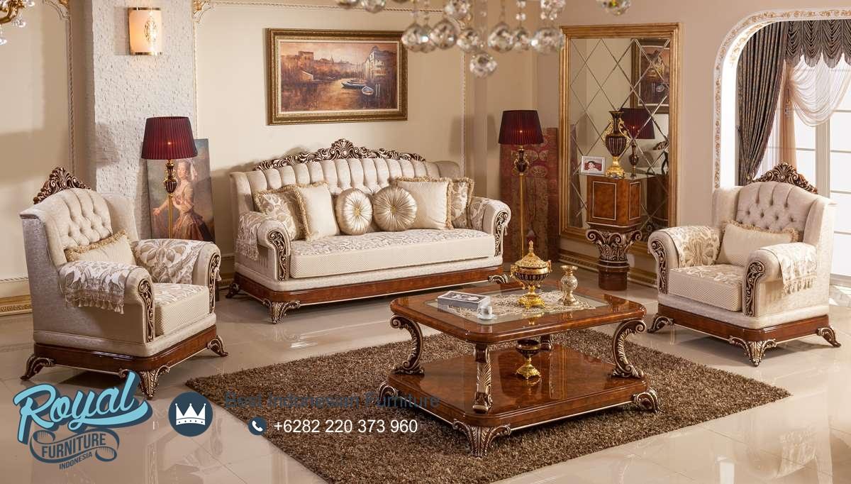 Set kursi sofa tamu klasik jati natural mewah terbaru for Sofa klasik
