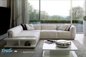 Sofa Tamu Minimalis Mewah Terbaru Leter L Full Cover Luxury