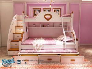 Tempat Tidur Anak Perempuan Tingkat Love Kayu Jepara Terbaru
