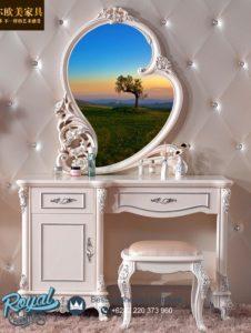 Meja Rias Mewah Love Ukiran Putih Duco Terbaru