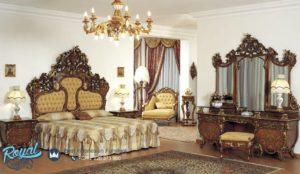Set Tempat Tidur Mewah Ukiran Classic Italian Bedroom Terbaru Kayu Jati Jepara