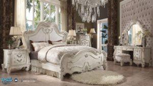 Bedroom Set Kamar Tidur Mewah Ukiran Jepara Versailles Putih Duco Terbaru
