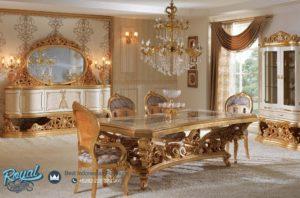 Set Meja Makan Mewah Gold Ukir Klasik Jepara Terbaru