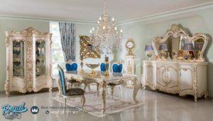 Meja Makan Mewah Set Ukir Jepara Klasik Odasi Putih Duco Terbaru