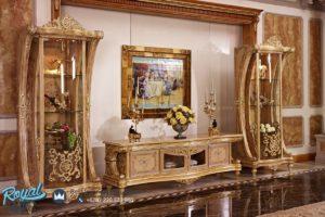 Set Bufet Tv Lemari Hias Mewah Ukir Klasik Rafless Terbaru