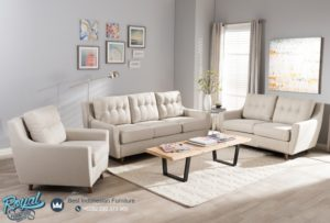 Sofa Tamu Minimalis Mewah Light Beige Modern Vintage Kayu Jati Jepara Terbaru