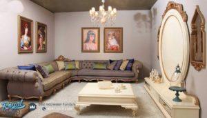 Sofa Tamu Ruang Keluarga Mewah Sudut Leter L Classic Gold Klasik Jepara Terbaru