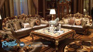 Sofa Tamu Mewah Klasik Brunello Jati Ukiran Jepara Terbaru