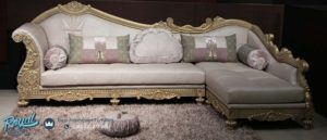 Sofa Tamu Mewah Sudut L Ukiran Klasik Terbaru Baroque