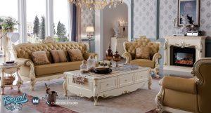 Sofa Tamu Mewah Modern Putih Duco Italy Ukir Jepara Terbaru