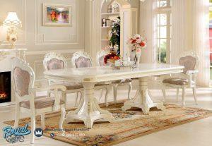 Set Meja Makan Mewah Jepara Terbaru Modern Putih Duco