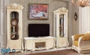 Set Bufet Tv Mewah Terbaru Ukir Jepara Putih Duco Italian