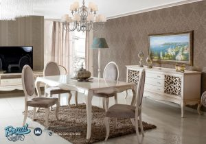 Set Meja Makan Minimalis Ovale Putih Duco