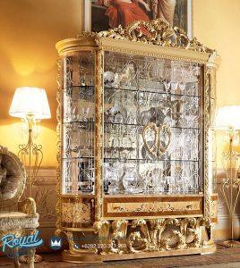 Almari Hias Kaca Klasik Ukir Jepara European Gold