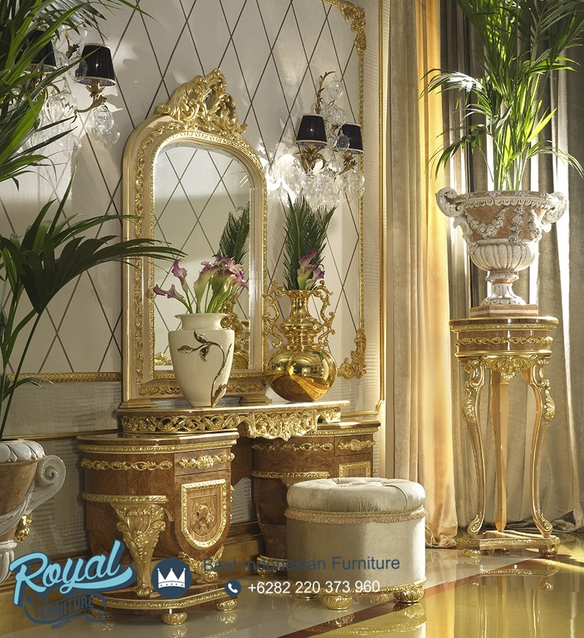 Meja Rias Ukir Klasik Jepara Eropa Style Terbaru, meja rias, meja rias klasik, meja rias mewah, meja rias ukir jati jepara, model meja rias terbaru, harga meja rias murah, jual meja rias ukir klasik, model meja rias terbaru, furniture meja rias jepara, meja rias gold duco, royal furniture