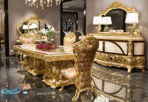 Set Meja Makan Mewah Classic Eropa Gold Duco