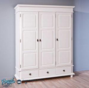 Almari Pakaian 3 Pintu Minimalis Kayu Jepara Putih Duco