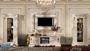 Set Bufet Tv Mewah Modern Lemari Pajangan Kaca Putih Duco