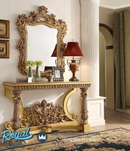 Console Table Ukir Klasik Gold Duco Homey Design Terbaru