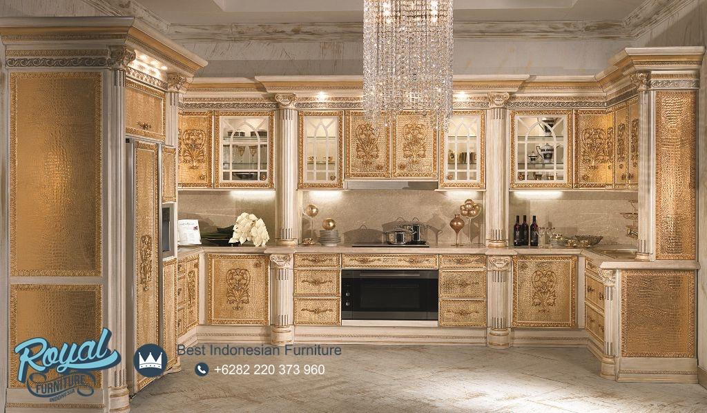 Model Kitchen Set Dapur Mewah Elegan Ukiran Jepara Terbaru Royal