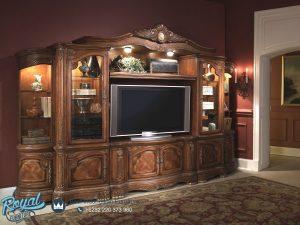 Bufet Tv lemari Hias Ruang Tamu Kayu Jati Ukir Jepara Terbaru Magdalena