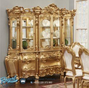 Design Lemari Hias Kaca Klasik Ukir Jepara Gold Duco Olimpia Terbaru