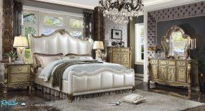 Model Set Tempat Tidur Mewah Ukir Klasik Jepara Gold Style