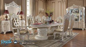 Dining Set Mewah Klasik Ukir Jepara Antiqued Putih Gold Brush Terbaru