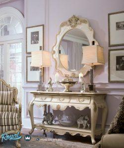 Meja Konsul Cermin Putih Modern Ukir Jepara Lavelle Terbaru