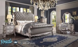 Set Kamar Tidur Mewah Klasik Ukir Jepara Terbaru Carved Grey