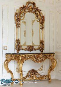 Desain Meja Konsul Klasik Mewah Gold Ukir Jepara Vallentino