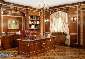 Desain Ruang Meja Kantor Klasik Kayu Jati Ukiran Jepara Klassiches