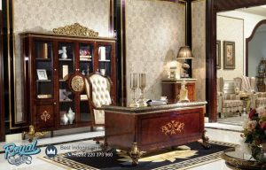 Interior Meja Kantor Klasik Mewah Kayu Jati Jepara Giratoria