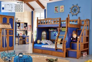 Kamar Tidur Anak Tingkat Kayu Jati Blue Ocean