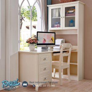 Meja Belajar Anak Sudut Ruangan Minimalis Putih Duco Corner