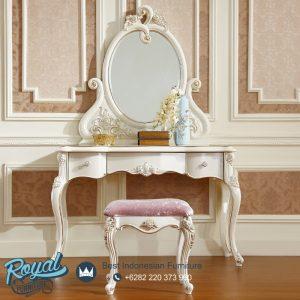 Model Meja Rias Modern Ukir Jepara Elegant Putih Duco