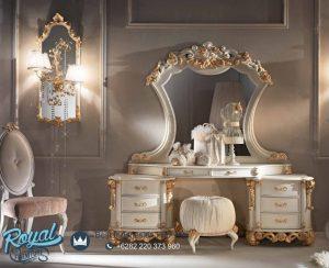 Model Meja Rias Ukir Mewah Klasik Putih Duco Terbaru