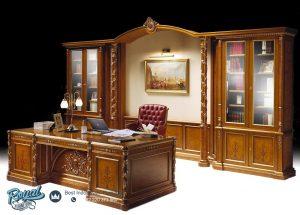 Ruang Meja Kantor Kayu Jati Ukir Classic Eropa Ginevra Terbaru