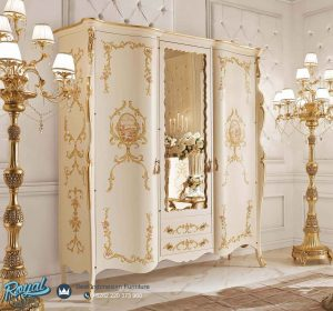 Lemari Pakaian Kayu 3 Pintu Mewah Modern Lukis Roskoshnaya