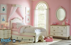 Model Kamar Tidur Anak Mewah Perempuan Laci Sorong Double Bed