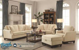 Sofa Ruang Tamu Minimalis Kayu Jati Creamy