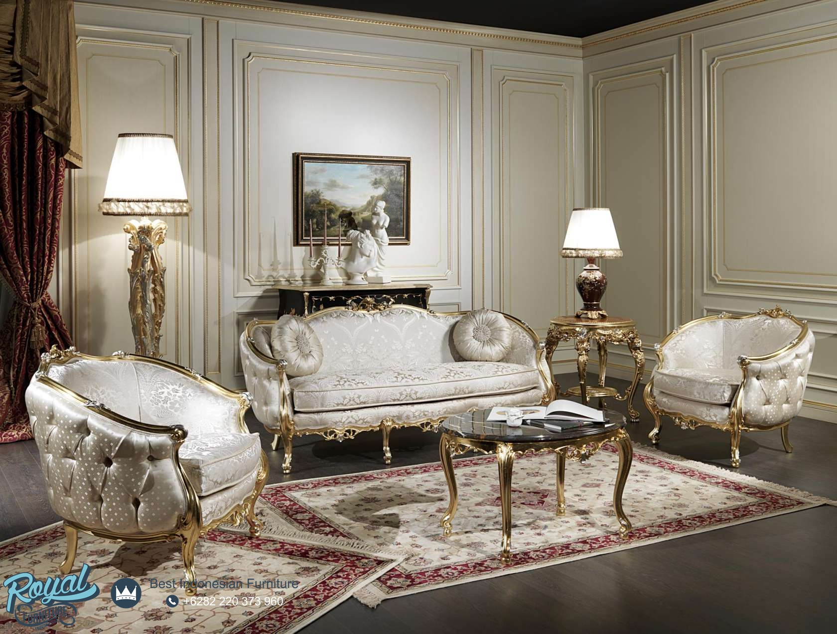 classic italian living room furniture set sofa tamu model italia klasik mewah terbaru venezia 23812