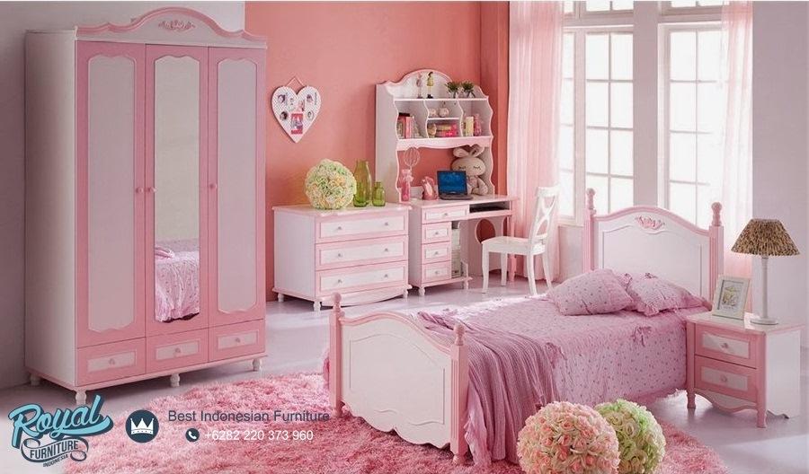 Set Tempat Tidur Anak Perempuan Pink Mewah Terbaru Naura
