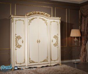 Lemari Pakaian 4 Pintu Mewah Queen Ukir Kayu Jepara